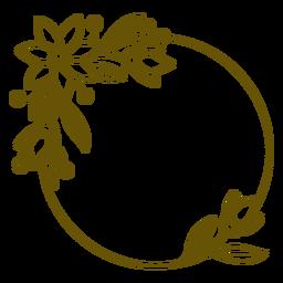Diseño de trazo leeafy de marco circular