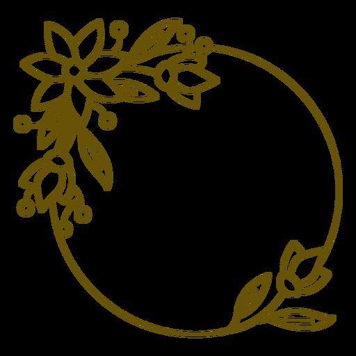 Circular frame leeafy stroke design