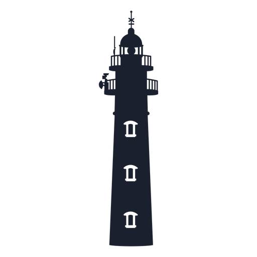 Classic conical lighthouse silhouette Transparent PNG