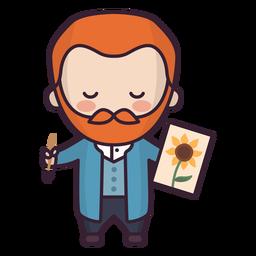 Personagem colorido de van gogh netherland