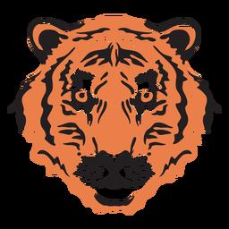 Golpe de cabeza de tigre colorido