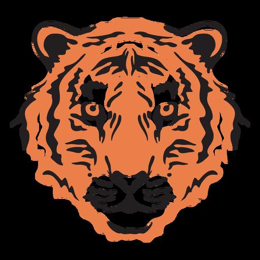 Colorful tiger head stroke