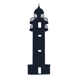 Conical lighthouse top silhouette