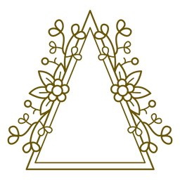Trazo de marco floral de doble triángulo