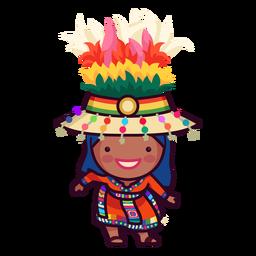 Dibujo a mano de carácter boliviano festivo