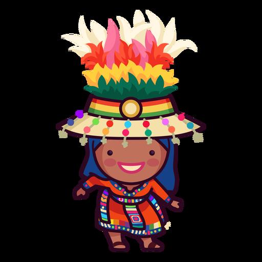 Festive bolivian character hand drawing