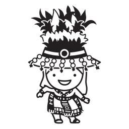 Festive bolivian character stroke