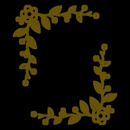 Floral frame leafy stroke design Transparent PNG