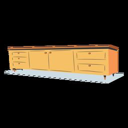 Vista frontal estante de tv plana