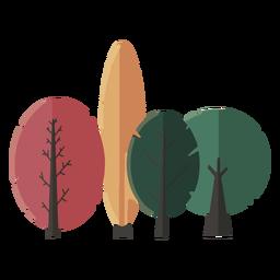 Projeto abstrato plana de árvores reunidas