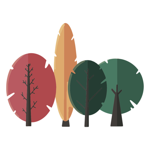 Gathered trees flat abstract design Transparent PNG
