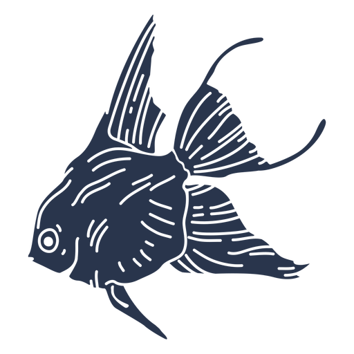 Pez de silueta de océano de peces de colores
