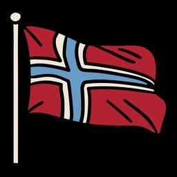 Mão desenhada bandeira da Noruega