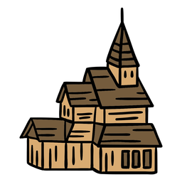 Dibujado a mano edificio de la iglesia católica