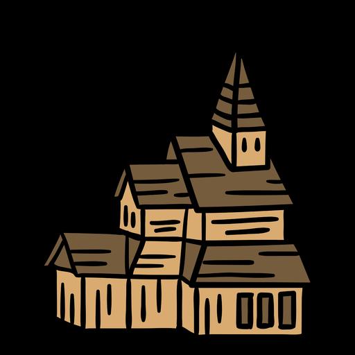 Hand drawn cathdral church building