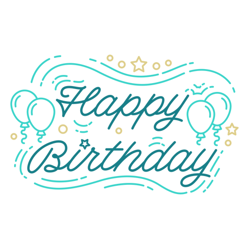 Happy birthday balloons lettering birthday Transparent PNG