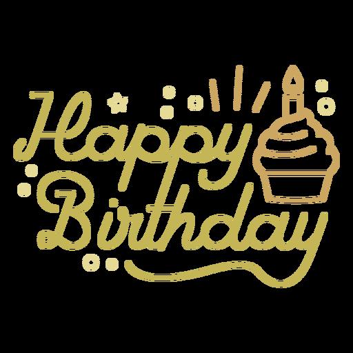 Citação de cupcake de feliz aniversário