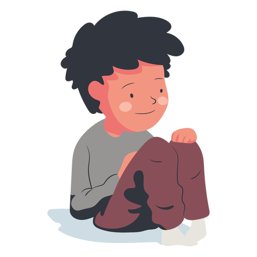 Happy sitting boy character flat Transparent PNG