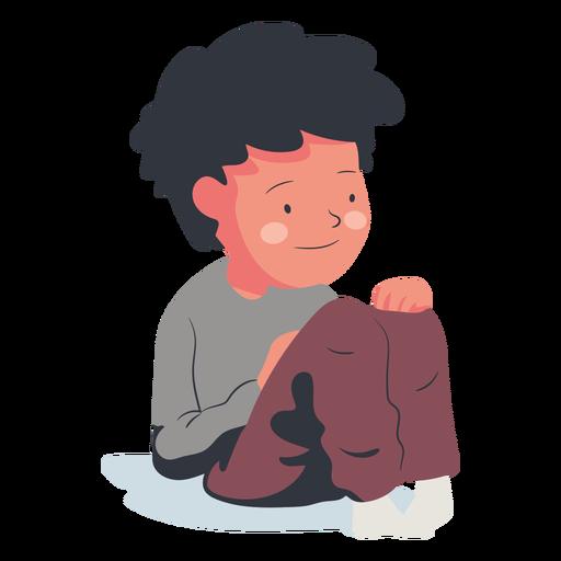 Happy sitting boy character flat