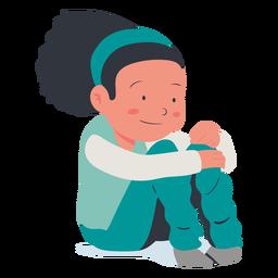Feliz personaje de niña sentada plana