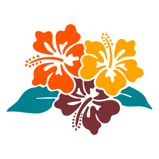 Hibiscus flowers tropical hand drawn design