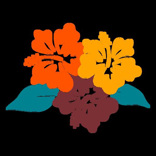 Projeto desenhado à mão tropical de flores de hibisco
