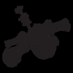 Silhueta de flor tropical de vista lateral de hibisco