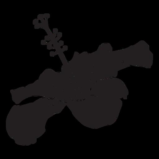 Silueta de flor tropical de vista lateral de hibisco