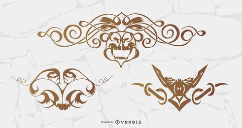 Kostenlose Vektor Ornamente mit Gesichtern