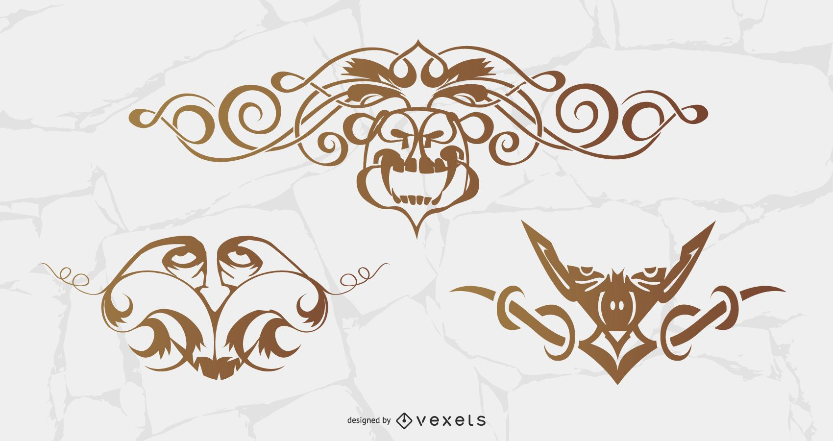 Free vector ornaments with faces