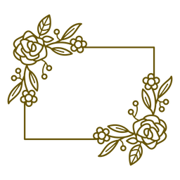 Horizontal rectangle floral frame stroke