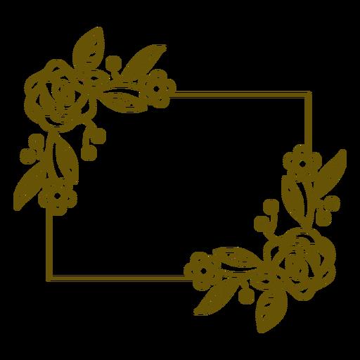 Trazo de marco floral rectángulo horizontal