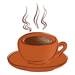 Hot coffee cup saucer hand drawn