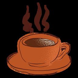 Plato de taza de café caliente dibujado a mano