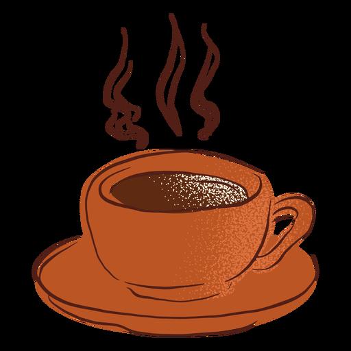 Dibujado a mano taza de café caliente platillo