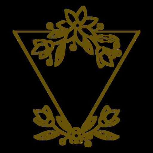 Inverted triangle floral frame stroke