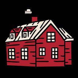 Edificio de chimenea de casa grande dibujado a mano