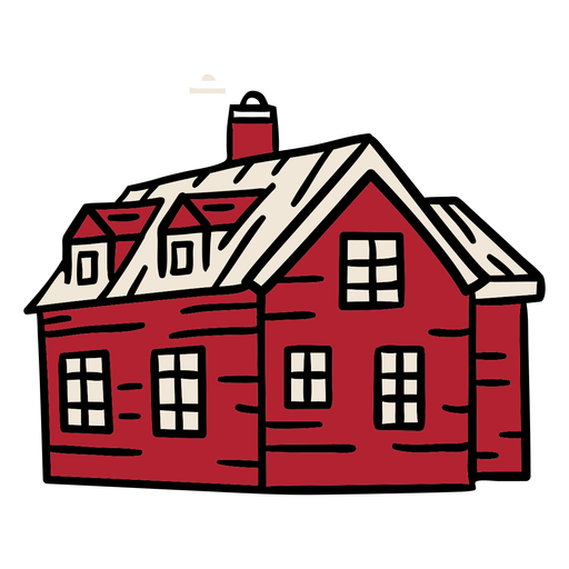 Large house smokestack building hand drawn Transparent PNG