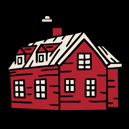Large house smokestack building hand drawn