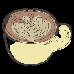 Latte art coffee cup stroke