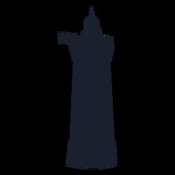 Silueta de edificio de torre de faro