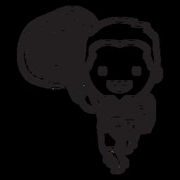Mariachi cute bolivian character stroke