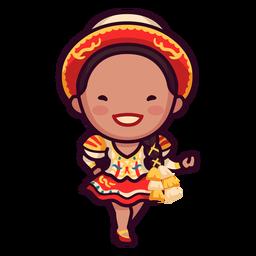 Mariachi girl cute bolivian character
