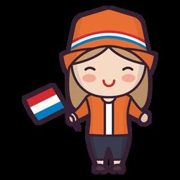 Niedlicher Charakter der jungen Frau der Niederlande