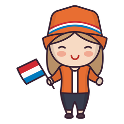 Personaje lindo de mujer joven de Holanda