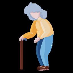 Old lady walking stick character flat