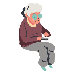 Old sitting lady watching tv flat
