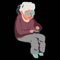 Senhora sentada velha assistindo tv plana