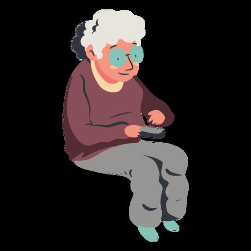 Anciana sentada viendo la televisión plana Transparent PNG