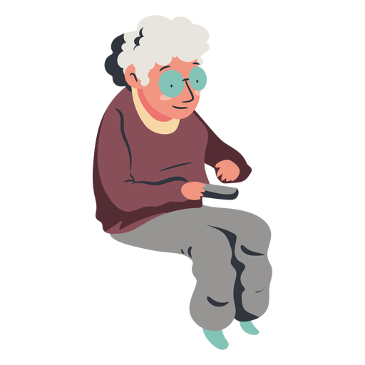 Old sitting lady watching tv flat Transparent PNG